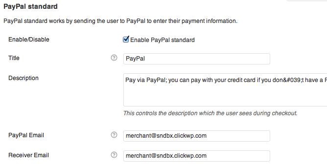 WooCommerce PayPal settings