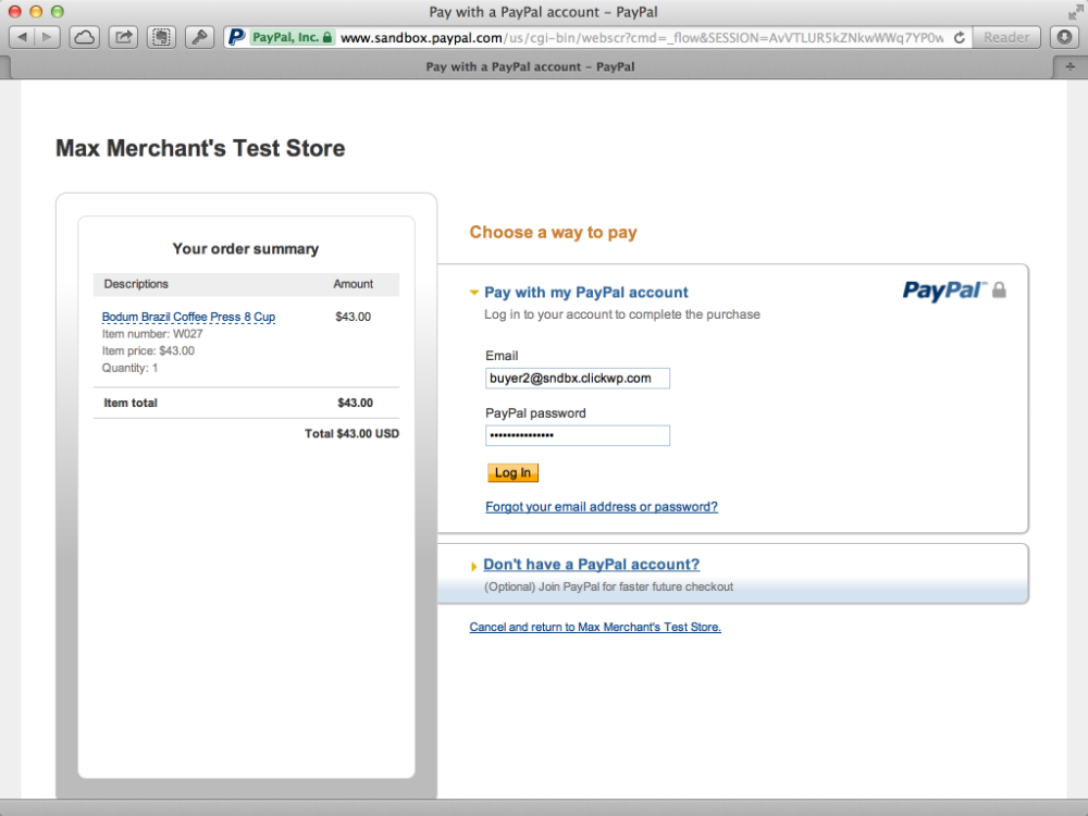 Test store on PayPal Sandbox