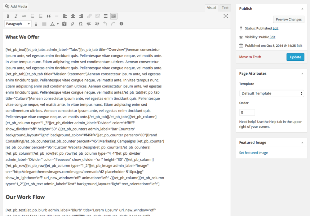 This is an example of what you'll get after switching away from a theme with shortcodes-based page editor