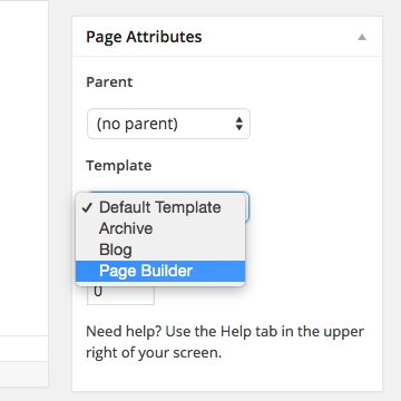 Select the Page Builder page template