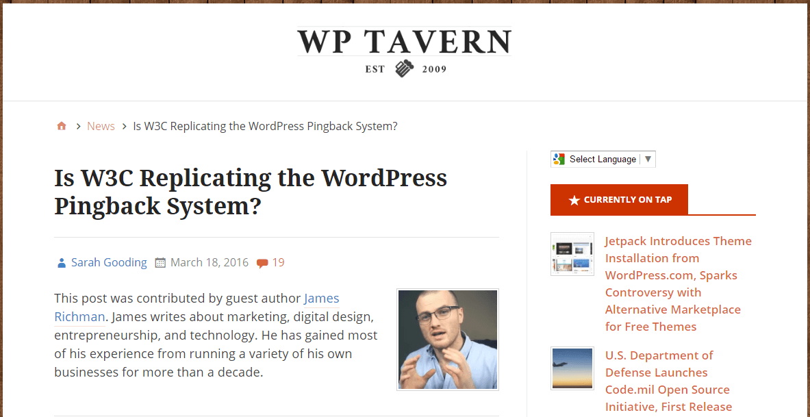 An example of a guest post on the wptavern.com blog.