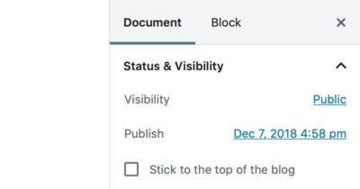 Block Editor - Document Settings