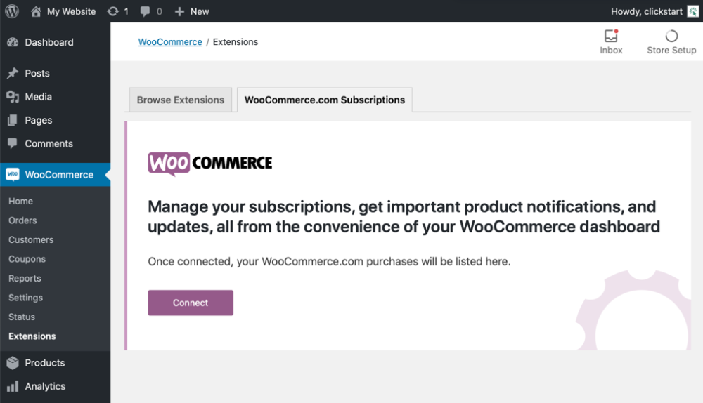 WooCommerce Connect Account