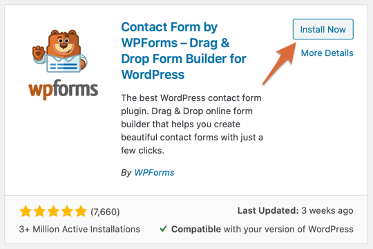 WPForms plugin card - Install Now