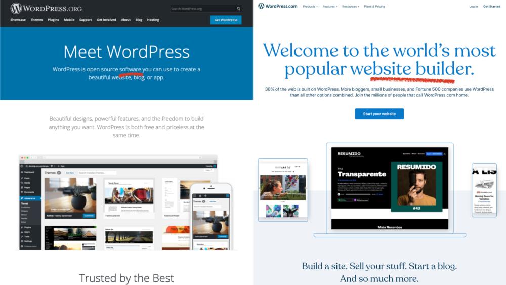 WordPress.org is home to the WordPress software. WordPress.com is home to the website builder.