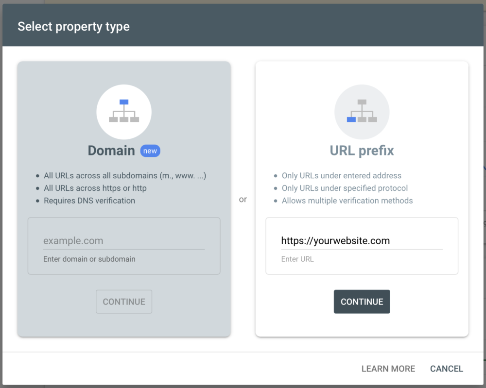 Google Search Console choose Property Type