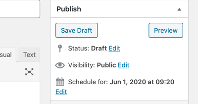 Schedule an entry in the WordPress classic editor
