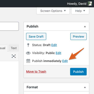 Edit the entry date in the WordPress classic editor