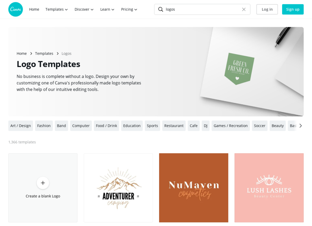 Canva creates customized logo designs